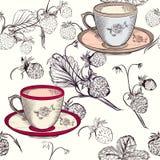 Διανυσματικό υπόβαθρο τσαγιού ή καφέ με τα φλυτζάνια και τη φράουλα Στοκ εικόνα με δικαίωμα ελεύθερης χρήσης