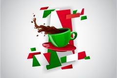 Διανυσματικό φωτεινό φλυτζάνι χρώματος του ζεστού ποτού (τσάι ή καφές) Στοκ Εικόνες