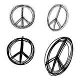 Διανυσματικό χέρι doodle απεικόνισης που σύρεται του καθορισμένου σημαδιού s ειρήνης σκίτσων Στοκ Φωτογραφία