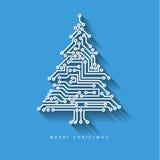 Διανυσματικό χριστουγεννιάτικο δέντρο από το ψηφιακό ηλεκτρονικό κύκλωμα Στοκ φωτογραφία με δικαίωμα ελεύθερης χρήσης