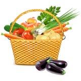 Διανυσματικό ψάθινο καλάθι με τα λαχανικά Στοκ εικόνες με δικαίωμα ελεύθερης χρήσης