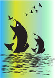 διανυσματικό ύδωρ απεικόνισης ψαριών ανασκόπησης μπλε Στοκ Φωτογραφία