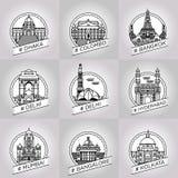 διανυσματικό dhaka γραμμών, colombo, Μπανγκόκ, Δελχί, Hyderabad, Hyderabad Στοκ Εικόνες