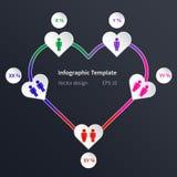 Διανυσματικό infographic πρότυπο με την καρδιά Στοκ φωτογραφία με δικαίωμα ελεύθερης χρήσης