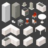 Διανυσματικό isometric σύνολο κουζινών Στοκ Εικόνα