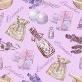 Διανυσματικό lavender καλλυντικό άνευ ραφής σχέδιο Στοκ Φωτογραφίες