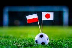 Ιαπωνία - Πολωνία, ομάδα Χ, Πέμπτη, 28 Ποδόσφαιρο Ιουνίου, Παγκόσμιο Κύπελλο, Ρωσία 2018, εθνικές σημαίες στην πράσινη χλόη, άσπρ στοκ φωτογραφία με δικαίωμα ελεύθερης χρήσης
