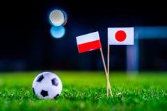 Ιαπωνία - Πολωνία, ομάδα Χ, Πέμπτη, 28 Ποδόσφαιρο Ιουνίου, Παγκόσμιο Κύπελλο, Ρωσία 2018, εθνικές σημαίες στην πράσινη χλόη, άσπρ στοκ εικόνα με δικαίωμα ελεύθερης χρήσης