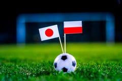 Ιαπωνία - Πολωνία, ομάδα Χ, Πέμπτη, 28 Ποδόσφαιρο Ιουνίου, Παγκόσμιο Κύπελλο, Ρωσία 2018, εθνικές σημαίες στην πράσινη χλόη, άσπρ στοκ εικόνες
