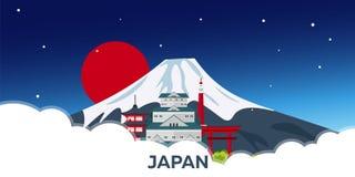 Ιαπωνία στο ταξίδι Τόκιο Βουνό επίσης corel σύρετε το διάνυσμα απεικόνισης Στοκ Εικόνες