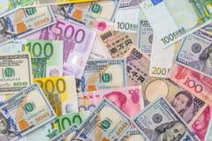 Ιαπωνικά γεν, αμερικανικό δολάριο, κινεζικός yuan, ευρο- Στοκ Εικόνες