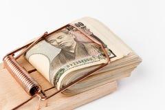ιαπωνικά γεν σημειώσεων ποντικοπαγήδων τραπεζών στοκ φωτογραφία με δικαίωμα ελεύθερης χρήσης