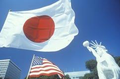 Ιαπωνικά και αμερικανικές σημαίες Στοκ φωτογραφία με δικαίωμα ελεύθερης χρήσης