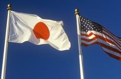 Ιαπωνικά και αμερικανικές σημαίες Στοκ Εικόνα
