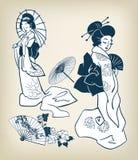 Ιαπωνικά κοριτσιών γυναικών στοιχεία σχεδίου illystration κιμονό διανυσματικά διανυσματική απεικόνιση