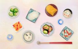 Ιαπωνικά παστωμένα λαχανικά στο ιαπωνικό tsukemono ` ` στο ιαπωνικό υπόβαθρο, τοπ άποψη Στοκ εικόνες με δικαίωμα ελεύθερης χρήσης