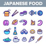 Ιαπωνικά τρόφιμα, γραμμικά διανυσματικά εικονίδια σουσιών καθορισμένα απεικόνιση αποθεμάτων