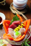 Ιαπωνικά τρόφιμα πολυτέλειας ακατέργαστων ψαριών Στοκ Φωτογραφία