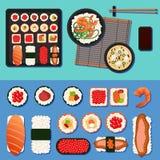 Ιαπωνικά τρόφιμα Σούσια που τίθενται με τους διαφορετικούς ρόλους Στοκ εικόνες με δικαίωμα ελεύθερης χρήσης