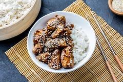 Ιαπωνικά τρόφιμα teriyaki ρυζιού κοτόπουλου Υπόβαθρο πλακών, τοπ άποψη Στοκ εικόνες με δικαίωμα ελεύθερης χρήσης