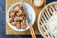 Ιαπωνικά τρόφιμα teriyaki ρυζιού κοτόπουλου Υπόβαθρο πλακών, τοπ άποψη Στοκ Φωτογραφίες