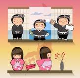 Ιαπωνικές άνδρες και γυναίκες και σκηνικά σχέδιο χαρακτήρα - διανυσματική απεικόνιση Στοκ Εικόνα