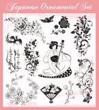 Ιαπωνικές παραδοσιακές διακοσμήσεις που τίθενται ελεύθερη απεικόνιση δικαιώματος