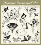 Ιαπωνικές παραδοσιακές διακοσμήσεις καθορισμένες απεικόνιση αποθεμάτων