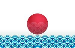 Ιαπωνική άνευ ραφής ταπετσαρία κυμάτων με τον κόκκινο ήλιο διανυσματική απεικόνιση