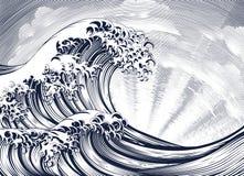 Ιαπωνική ασιατική χαραγμένη χαρακτική ξυλογραφία κυμάτων διανυσματική απεικόνιση