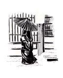 Ιαπωνική γυναίκα κάτω από την ομπρέλα σκίτσο Στοκ Φωτογραφίες