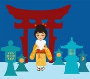 Ιαπωνική γυναίκα κοντά στα φανάρια φιαγμένα από χιόνι Στοκ φωτογραφίες με δικαίωμα ελεύθερης χρήσης