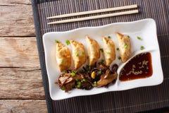 Ιαπωνική κουζίνα: gyoza με τη σαλάτα της σάλτσας φυκιών και σόγιας στο α Στοκ Φωτογραφίες