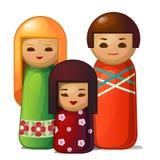 Ιαπωνική κούκλα - γυναίκα, άνδρας και παιδί διανυσματική απεικόνιση