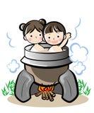Ιαπωνική παλαιά μπανιέρα ύφους - που θερμαίνεται από κάτω διανυσματική απεικόνιση