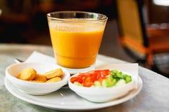 Ιαπωνική πορτοκαλιά σούπα κολοκύθας Στοκ Φωτογραφία