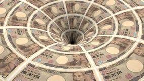 Ιαπωνική ροή τραπεζογραμματίων γεν στην τρύπα απόθεμα βίντεο
