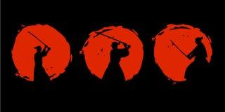 Ιαπωνική σκιαγραφία πολεμιστών Σαμουράι επίσης corel σύρετε το διάνυσμα απεικόνισης διανυσματική απεικόνιση