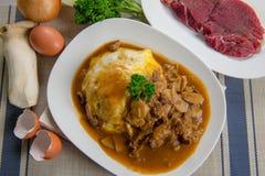 Ιαπωνική συνταγή Gyudon κύπελλων βόειου κρέατος και ρυζιού Στοκ εικόνα με δικαίωμα ελεύθερης χρήσης
