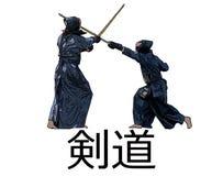 Ιαπωνικοί μαχητές kendo με τα ξίφη μπαμπού στο άσπρο bacgkround Στοκ Φωτογραφία