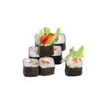 Ιαπωνικοί ρόλοι λαχανικών με μια περούκα, ένα αγγούρι και ένα ρύζι Στοκ Εικόνα