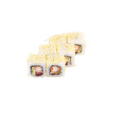 Ιαπωνικοί ρόλοι κουζίνας με το ρύζι και τις γαρίδες Στοκ Φωτογραφίες