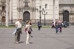Ιαπωνικοί τουρίστες στη Λίμα, Περού Στοκ εικόνες με δικαίωμα ελεύθερης χρήσης