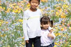 Ιαπωνικός κήπος αδελφών και αδελφών και λουλουδιών Στοκ φωτογραφία με δικαίωμα ελεύθερης χρήσης