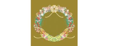 Ιαπωνικός κύκλος λουλουδιών γύρω από διακοσμημένο Polygonum filiforme διανυσματική απεικόνιση
