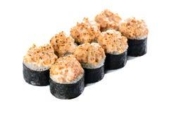 ιαπωνικός παραδοσιακός κουζίνας Σύνολο ρόλων σουσιών φιαγμένο από σολομό Στοκ φωτογραφία με δικαίωμα ελεύθερης χρήσης