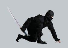 Ιαπωνικός πολεμιστής σε ένα απομονωμένο υπόβαθρο Στοκ Εικόνα