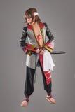 Ιαπωνικός Σαμουράι με το ξίφος katana Στοκ Εικόνα