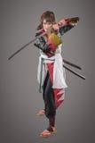 Ιαπωνικός Σαμουράι με το ξίφος katana Στοκ εικόνα με δικαίωμα ελεύθερης χρήσης
