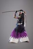 Ιαπωνικός Σαμουράι με το ξίφος katana Στοκ φωτογραφία με δικαίωμα ελεύθερης χρήσης